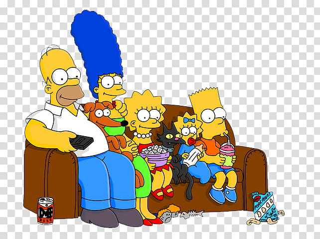 Los Simpsons, The Simpsons sitting on sofa illustration.