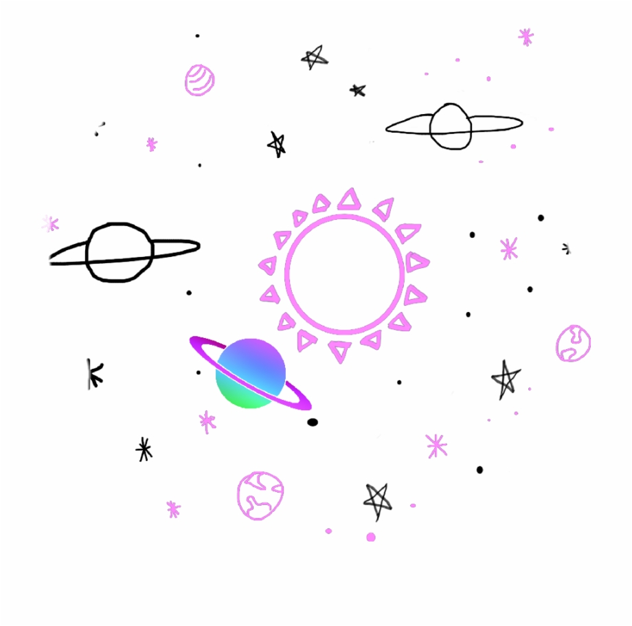 Sticker Space Tumblr Colors Cute Pink Purple Stars.