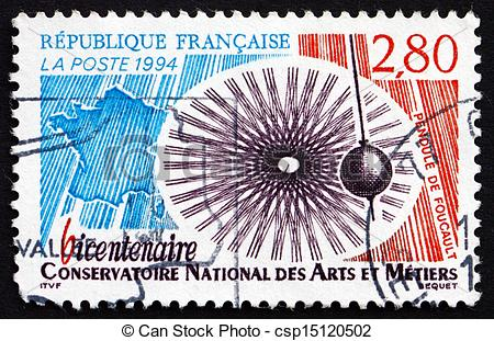 Stock Photography of Postage stamp France 1994 Foucault's Pendulum.