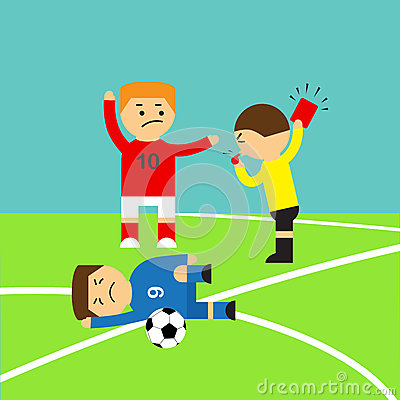 Soccer Player Who Making Tackle Foul And Referee Stock Vector.