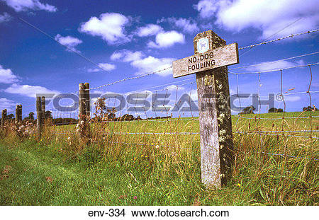 Stock Photo of No Dog Fouling Sign on Fence Post Wales UK env.