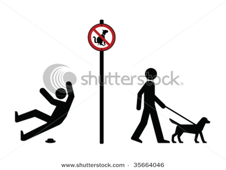 Walking Dog and No Dog Fouling Sign.