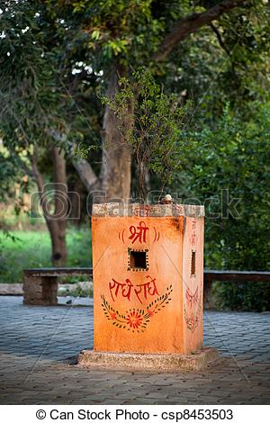 Stock Photos of Tulsi (basil) on a foundation.
