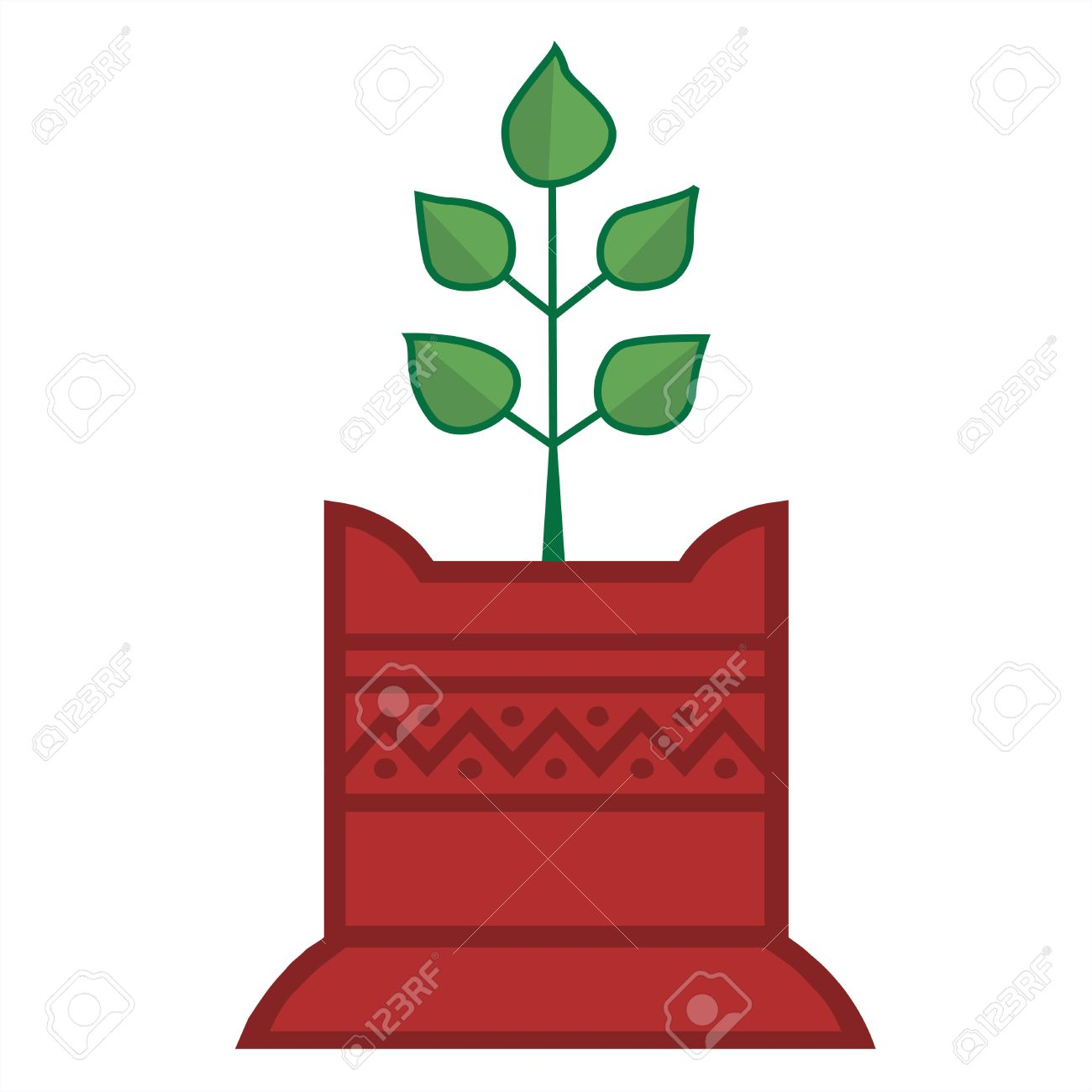 Illustration Of Tulsi Plant In Decorated Foundation Stock Photo.