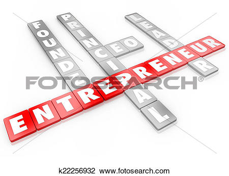 Clip Art of Entrepreneur Word Letter Tiles Founder CEO Business.