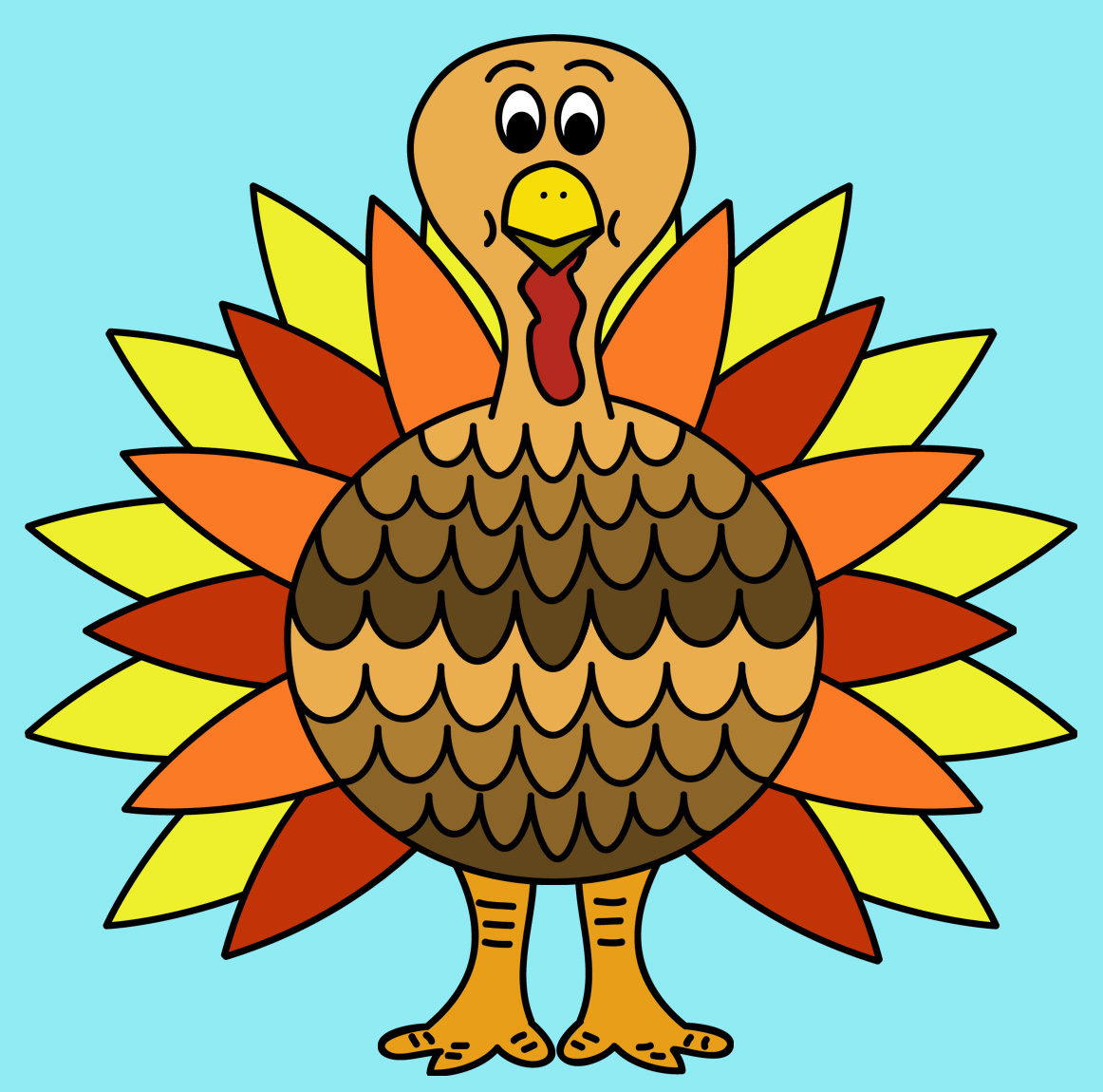 Turkey To Color Clipart.
