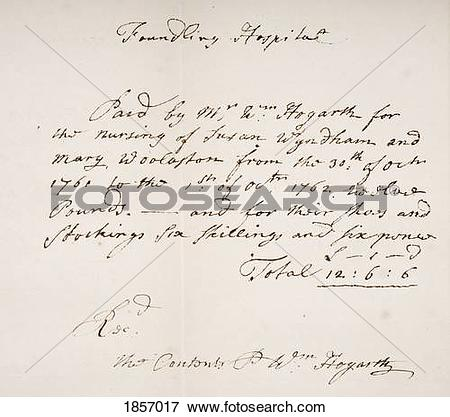 Picture of Foundling Hospital London, Receipt Signed By William.