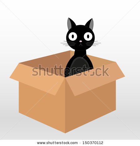 Illustration Of A Funny Black Cat Sitting In Cardboard Box And.