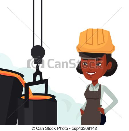 EPS Vector of Steelworker in hardhat at work in the foundry.