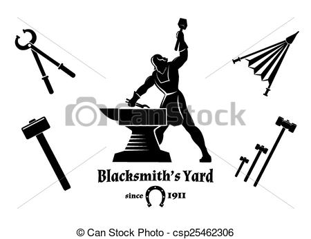 Vector Clipart of Vintage blacksmith. Hammer and tongs, anvil and.