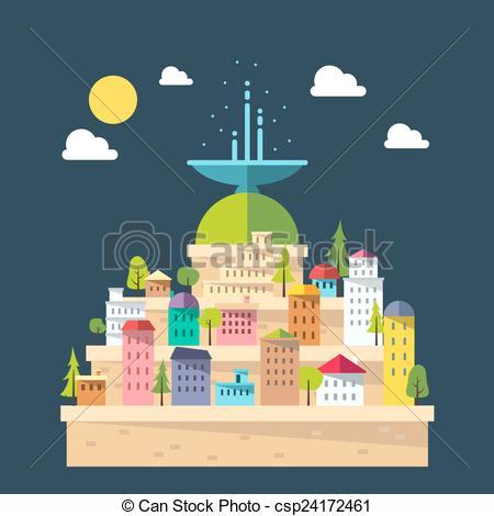Clip Art Vector of Flat design of fountain city illustration.