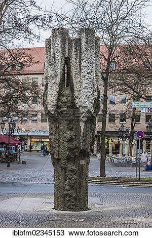 "Stock Photo of ""A modern fountain, city centre, Nuremberg, Middle."