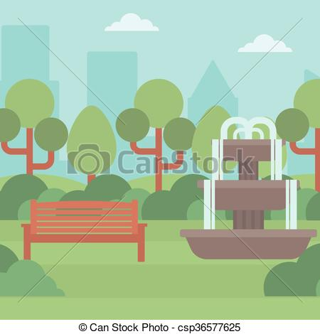 Vector Illustration of Background of city park with fountain.