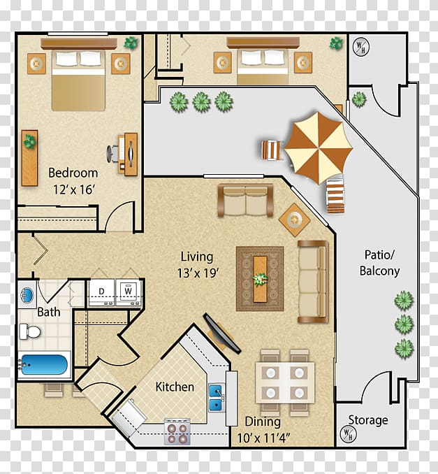 The Place at Fountains at Sun City Apartments Floor plan.