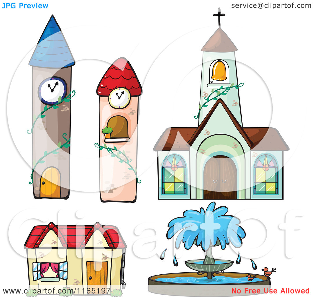 Cartoon of Towers a Fountain Church and House.