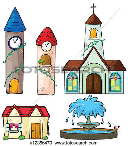 Clipart of A clock tower, church, house and fountain k12356470.