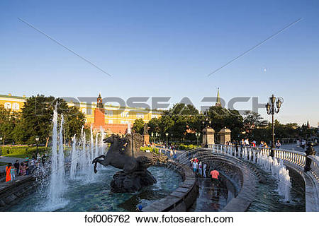 Stock Photo of Russia, Moscow, Alexander Garden, fountain four.