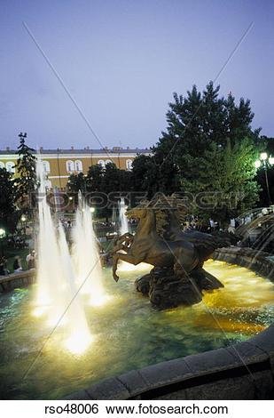 Stock Images of Three horse fountain in Alexander Gardens, Moscow.