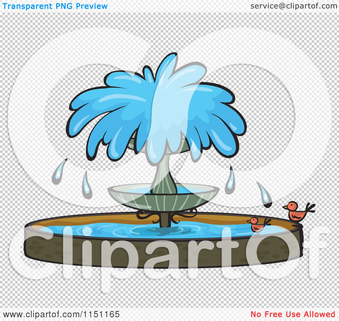 Clipart of a Water Fountain with Birds.