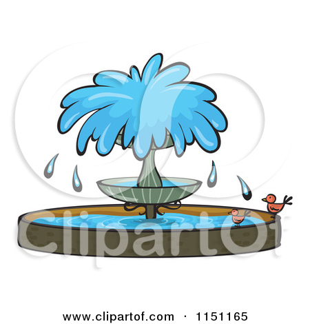 Cartoon Of A Contained Pond And Fountain.