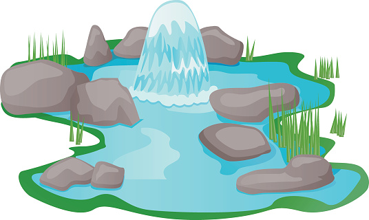 Spring water with a tree and a rock clipart.