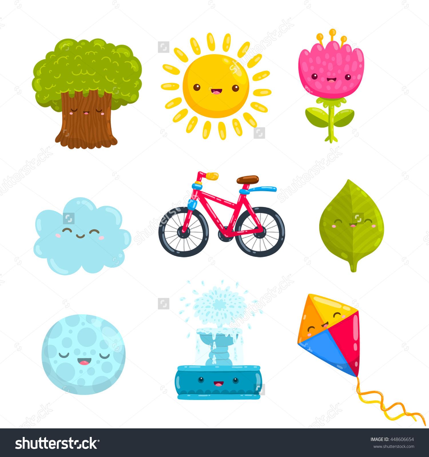Cute Cartoon Park Objects Tree Flower Stock Vector 448606654.