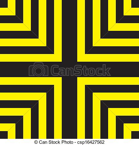 Clip Art Vector of Yellow on black four corners of the square.