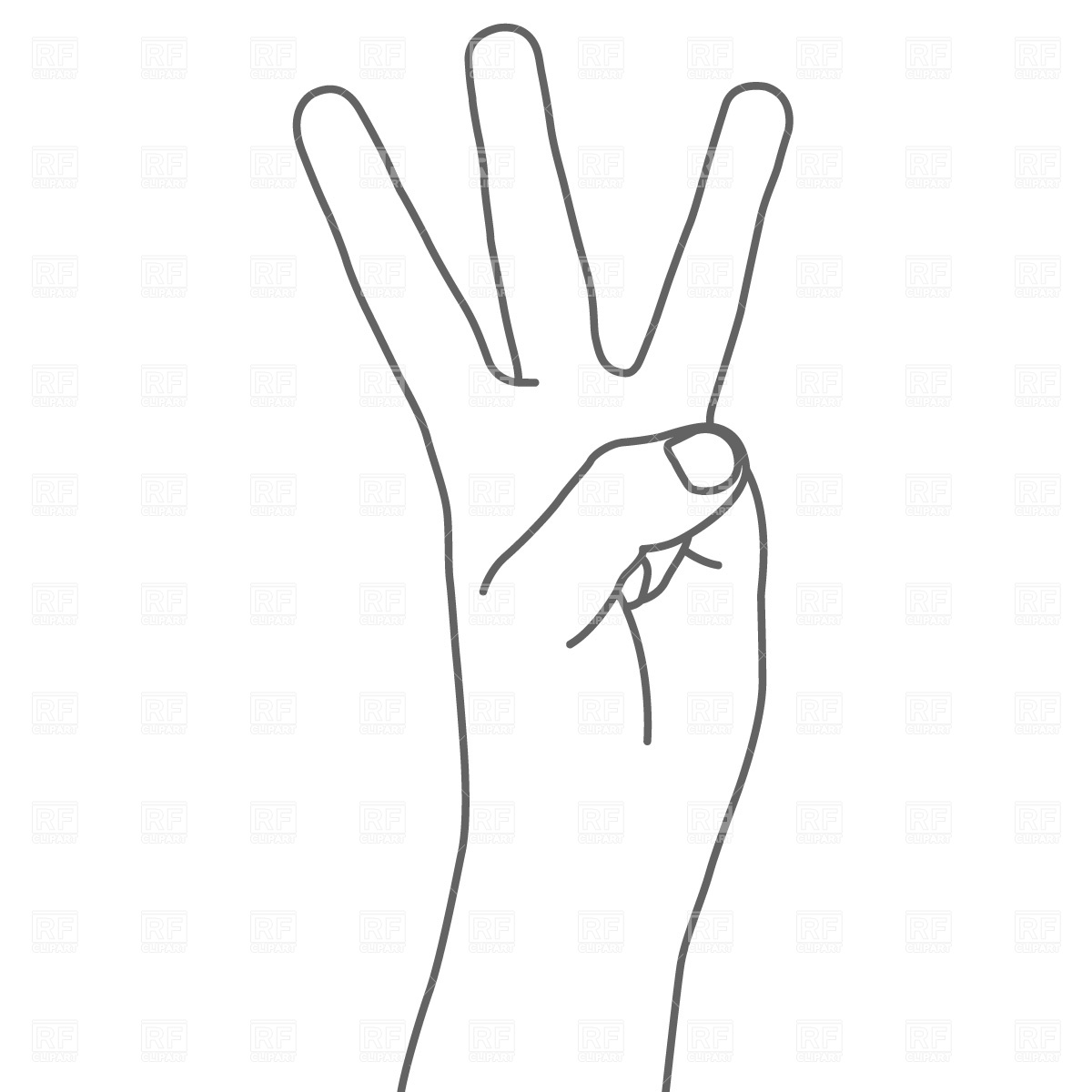 Four fingers hand sign Vector Image #681.