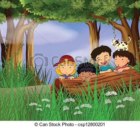 Vector Clipart of Four childrens playing in the forest.
