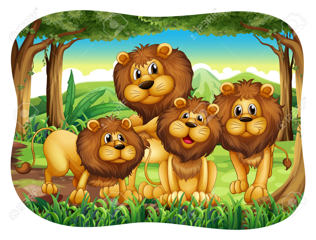 Four Lions Living In The Forest Royalty Free Cliparts, Vectors.