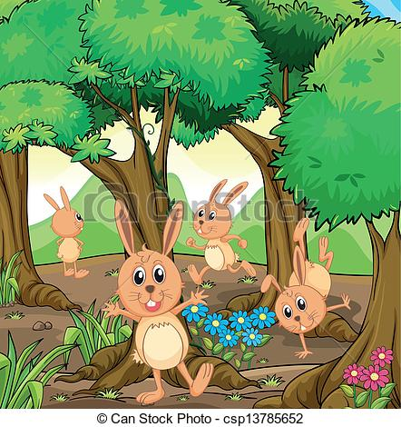 Clipart Vector of Four rabbits playing at the forest.