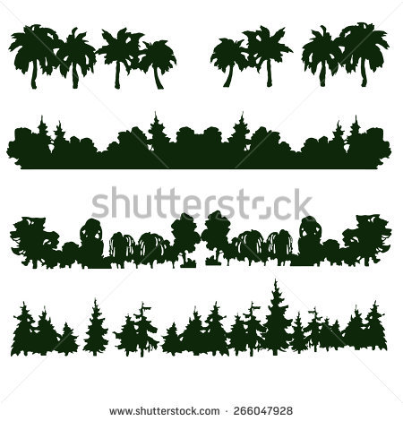 Set Four Forest Silhouettes Hand Drawn Stock Vector 266501330.