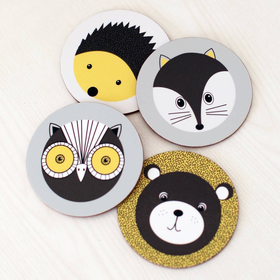 Set Of Four 'Forest Animals' Coasters.