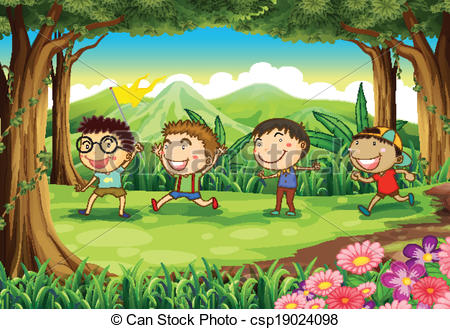 EPS Vectors of Four playful kids at the forest.