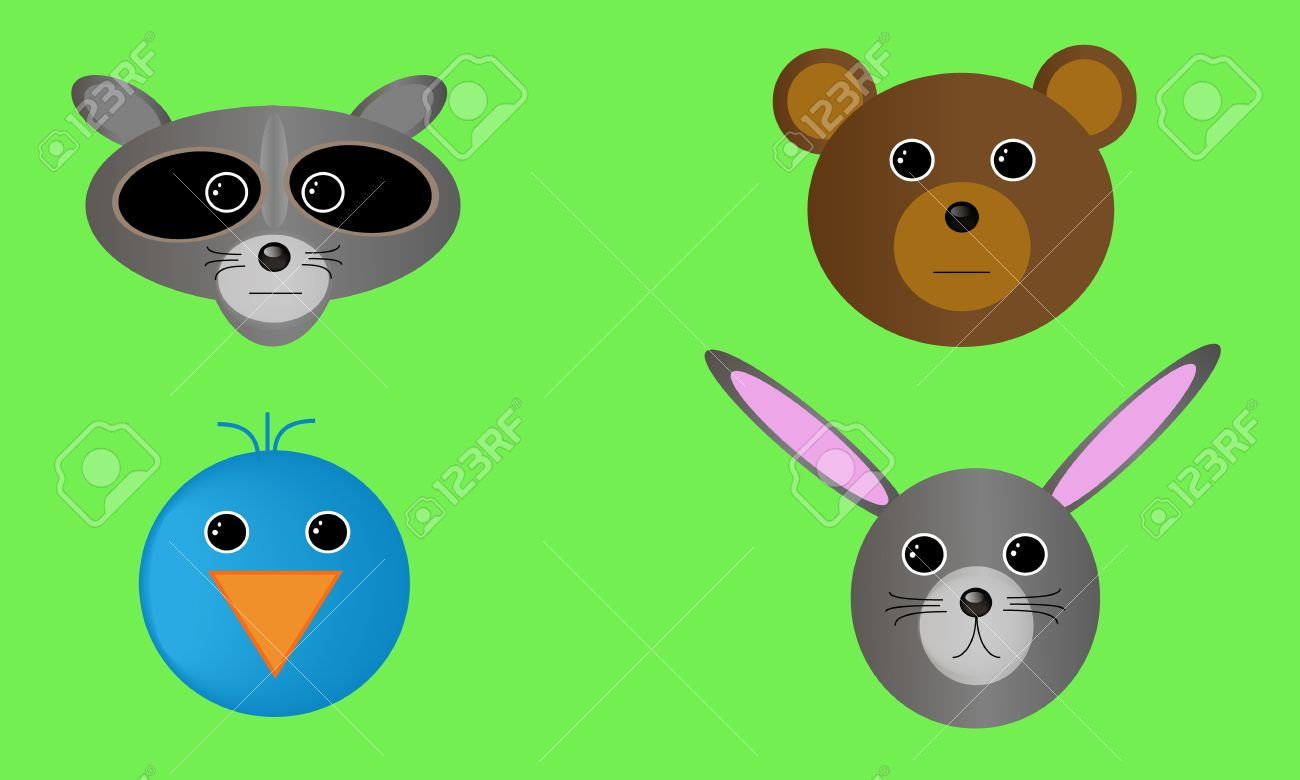 Four Forest Wildlife Animal Heads. Royalty Free Cliparts, Vectors.