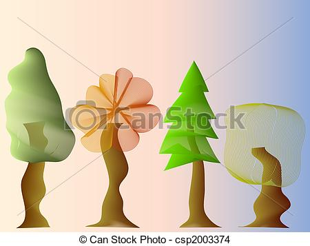 EPS Vector of four forest tree crowns with different shapes.