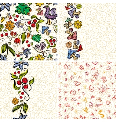 Four forest doodle patterns vector by Drekhann.