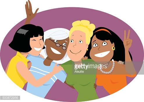 Four friends Clipart Image.