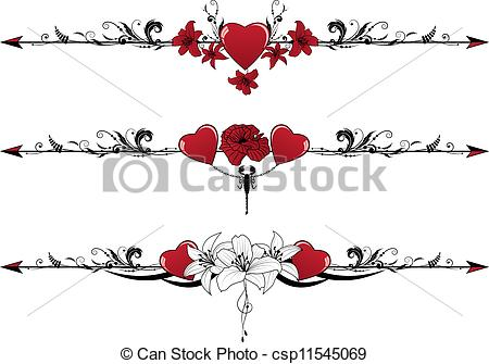 Clip Art Vector of set of Valentine borders.