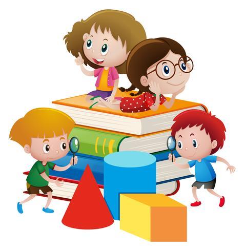 Four kids on giant books.