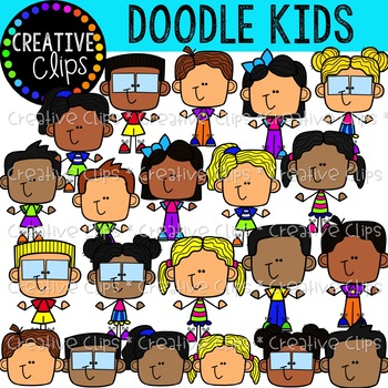 Doodle Kids Clipart {Creative Clips Clipart}.