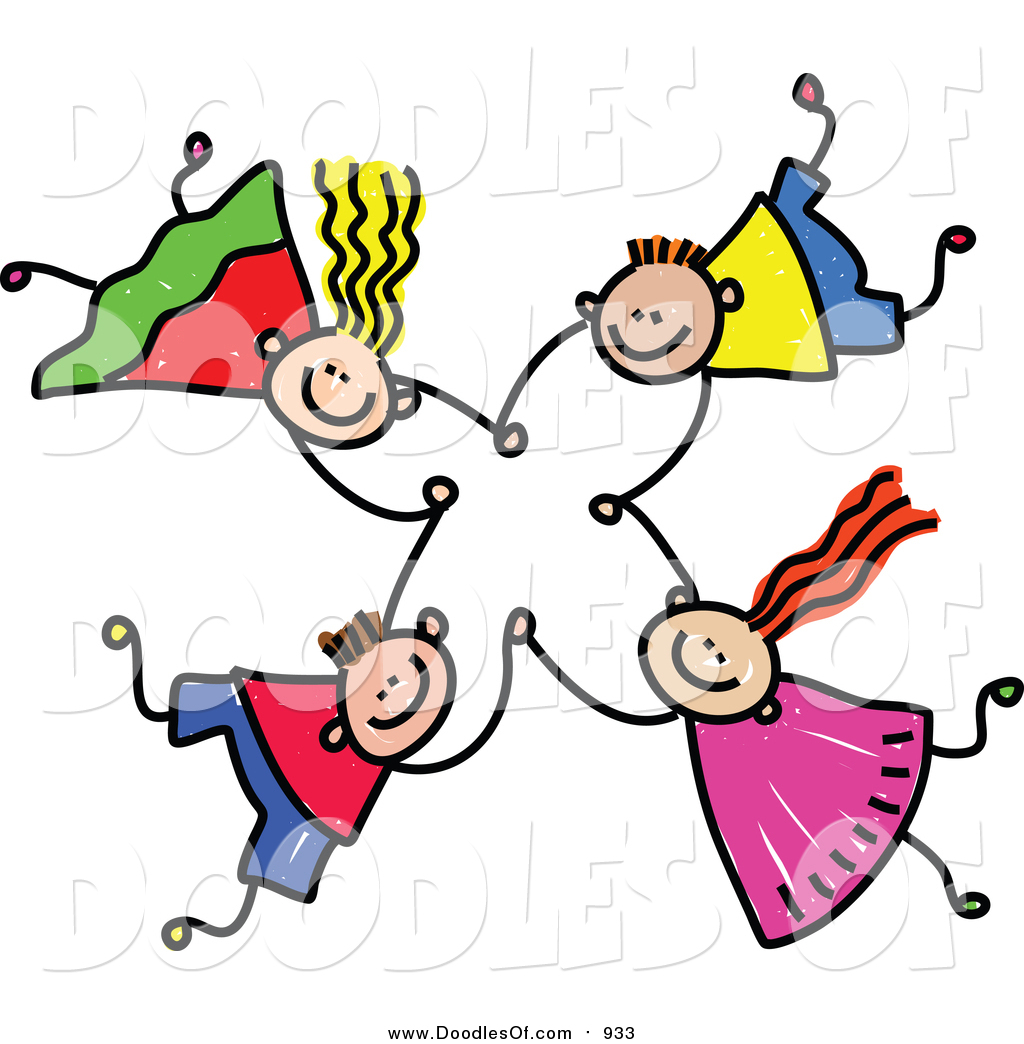 Vector Clipart of a Doodle of Four Kids Holding Hands While.