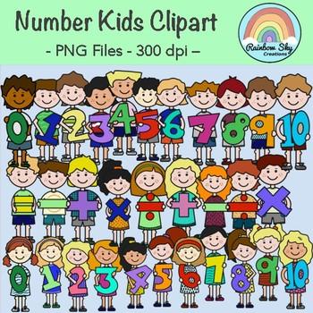 Maths Number Kids Clipart.