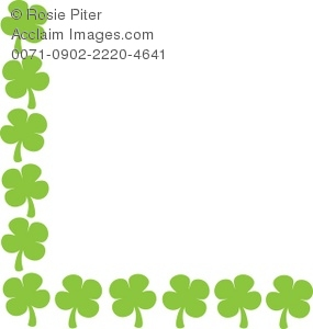 Shamrock Border with Many Four Leaf Clovers Royalty.