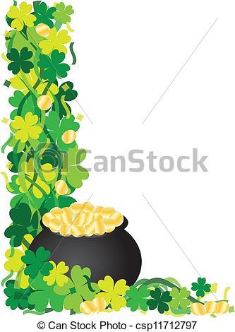 EPS Vectors of Four Leaf Clover Pot of Gold Border Illustration.