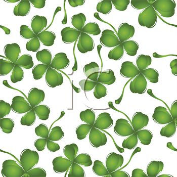 Shamrocks or Four Leaf Clovers Background.