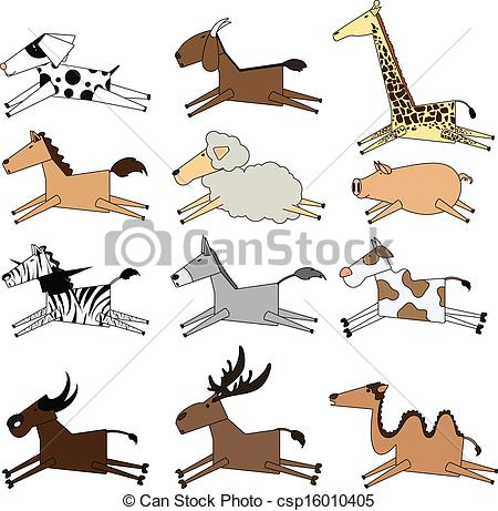 Vector Clipart of illustration of isolated farm animals set on.