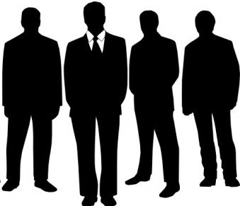 Men in black clipart.