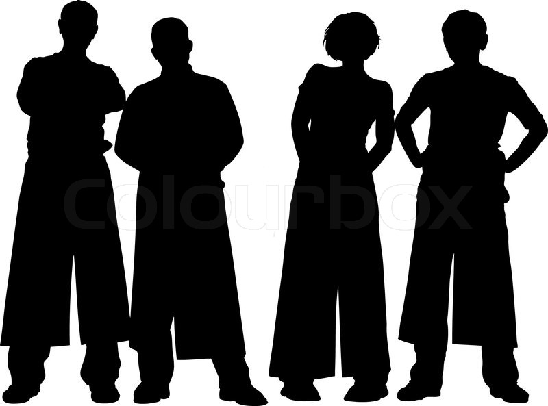 Vector illustration of four people.