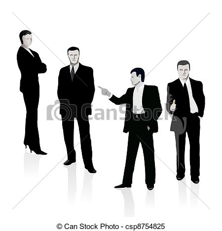 Clipart Vector of Group of four business people csp8754825.